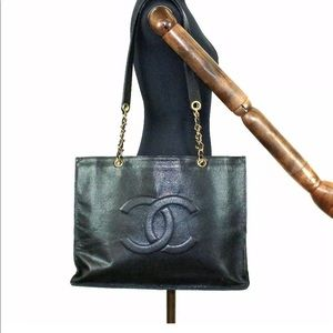 Auth CHANEL Black Caviar Gold Chain Handbag Tote